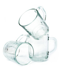 three empty glass mugs
