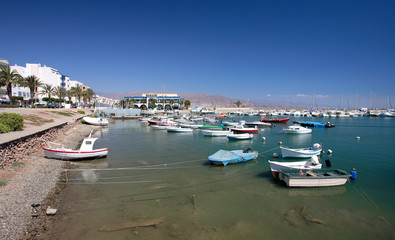 small fishing boats and yachts moored in roquets d