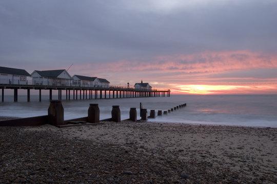 sunrise at southwold pier