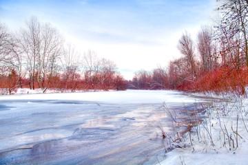 beautiful winter rivershore
