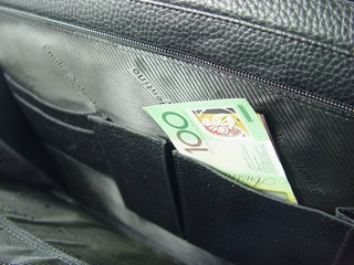 business bag and money