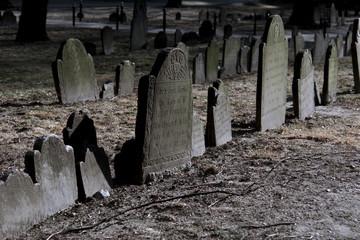 Printed kitchen splashbacks Cemetery dramatically lit tombstones in boston