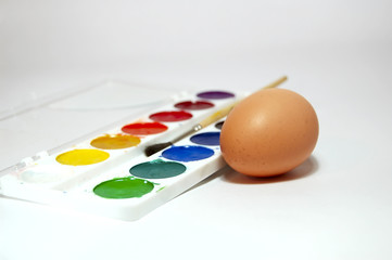 easter paint and egg, macro