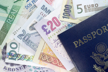 passport and foreign currency