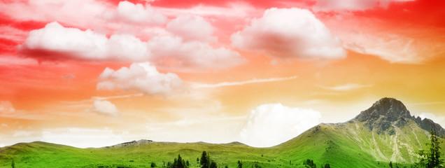 beautiful mountain in sunset