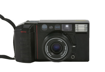 black automatic film camera on a white background
