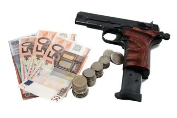 pistol and money