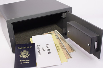 personal safe with passport, will and bonds