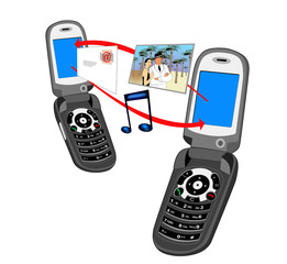two mobile phones exchanging information