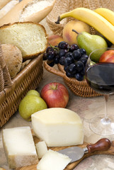 bread and wine series with fruit and cheese