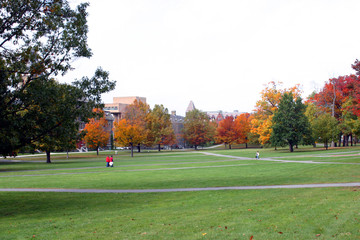 autumn on a college campus quad