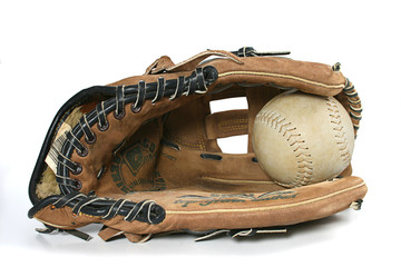 softball / baseball glove and ball