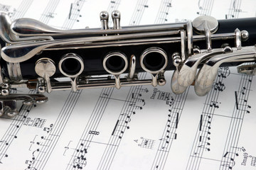 middle of a clarinet with holes and keys