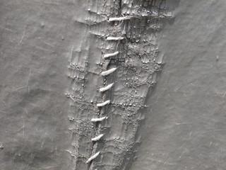 close-up white stitch