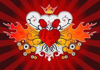rose, crown & flame