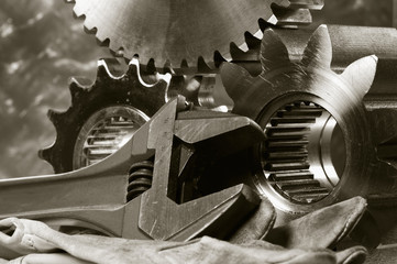 gears-mechanics and wrench-concept