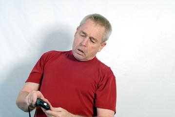 man reading light meter