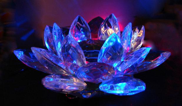 a lilac-blue crystal lotus