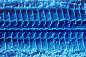 blue tireprint on snow