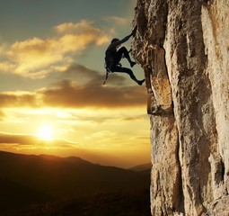 climber on sunset