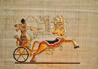 faksimile eines pharao im krieg auf papyrus