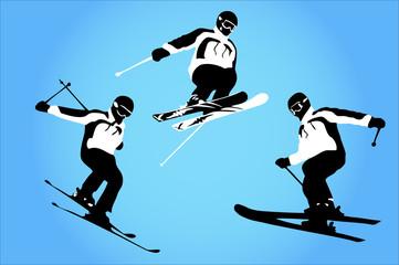 airborne skiers