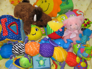 pile of baby toys
