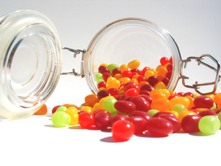 spilled jar of jelly beans