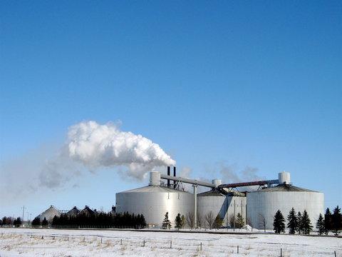 north dakota landscape with sugar beet factory