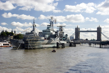 h.m.s belfast and tower bridge