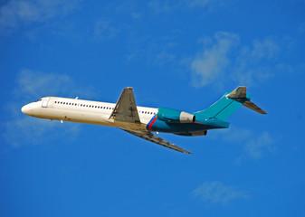 boeing 717 jet taking off