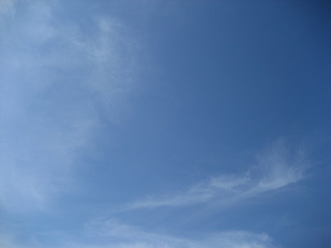 blue sky and wispy clouds