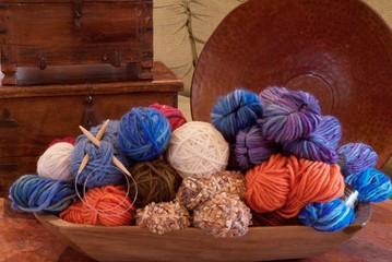 wooden bowl of yarn
