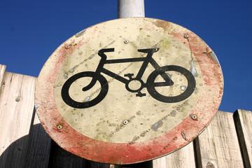 old no cycling sign