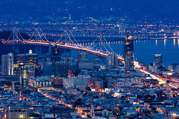 Fotobehang - san francisco bridges at night