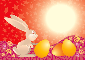 easter rabbit in red