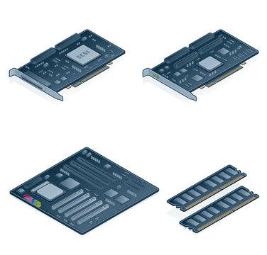 computer hardware icons set - design elements 55n