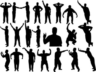lots of man silhouettes - vector illustration