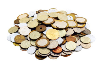heaps of coins (isolated on white)