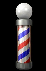 barber pole on black