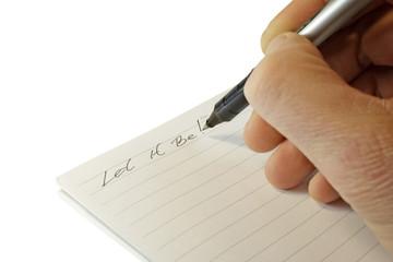note in a notebook.