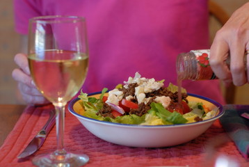 salad with white wine
