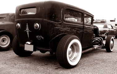 Wall Mural - Model A Rat Rod hotrod In Sepia