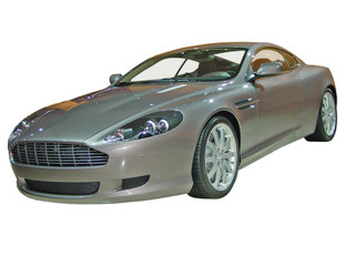 silver sports car isolated