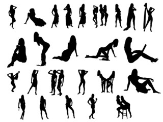 icons with sexy girls silhouettes