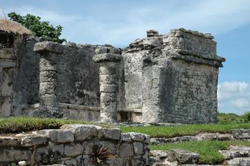 mayan building and columns