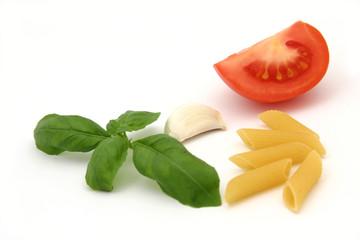 pasta, basil, garlic and tomato