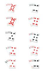all poker hands on white