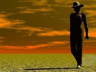 cowgirl walking