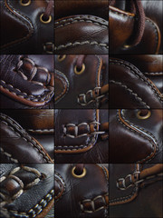 leather shoes details collage